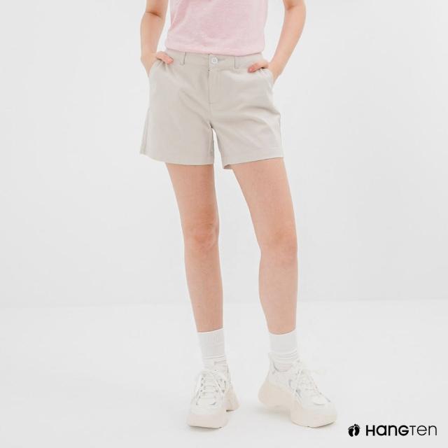 【Hang Ten】女裝-REGULAR FIT經典短褲-淺灰