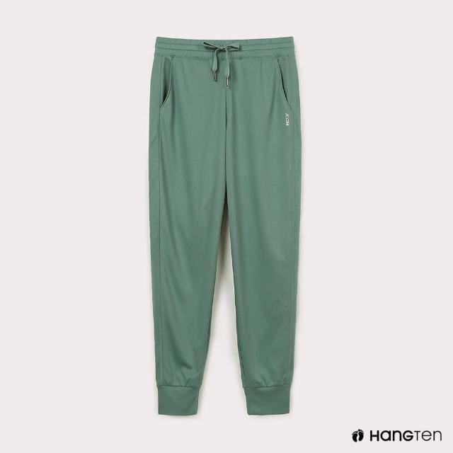 【Hang Ten】女裝-恆溫多功能-REGULAR FIT標準鳥眼吸排紗涼感抗菌除臭運動長褲-綠