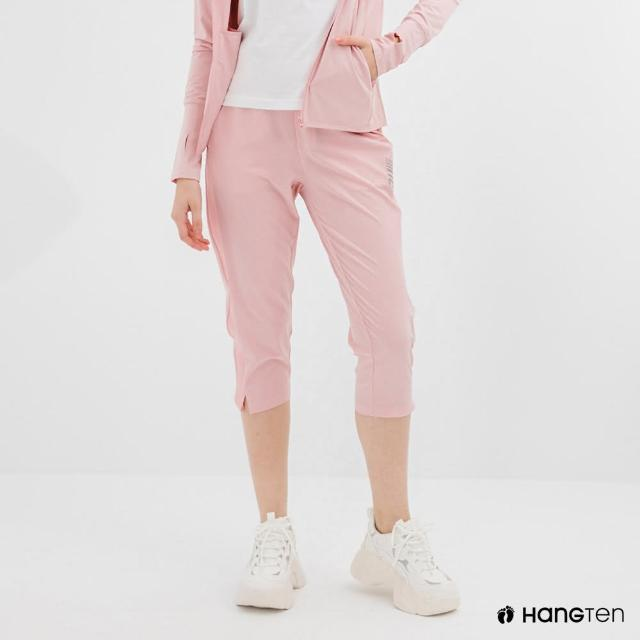 【Hang Ten】女裝-恆溫多功能-REGULAR FIT標準四向彈力吸濕快乾抗曬七分運動長褲-淺粉