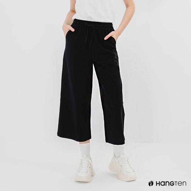 【Hang Ten】女裝-WIDE LEG FIT鬆緊腰頭竹節紋九分褲-深藍