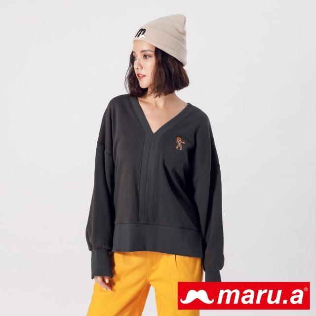 【maru.a】你好!薑餅人~開岔設計V領上衣(深灰)