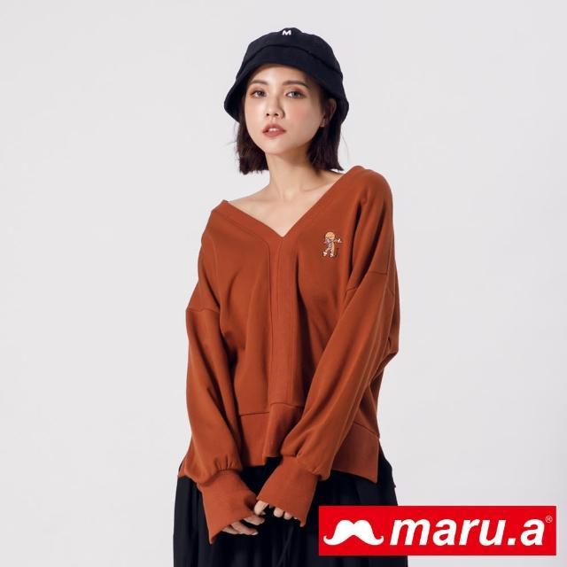 【maru.a】你好!薑餅人~開岔設計V領上衣(咖啡)