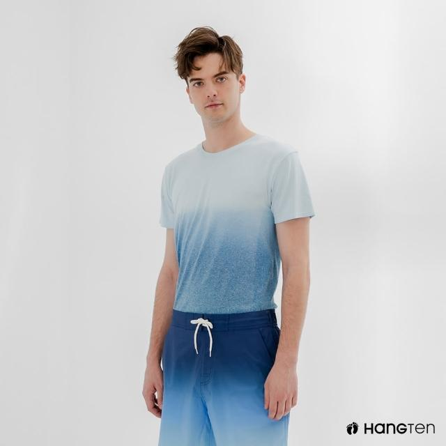 【Hang Ten】男裝-恆溫多功能-銀纖維無縫涼感抗菌除臭漸層短袖T恤-淺藍