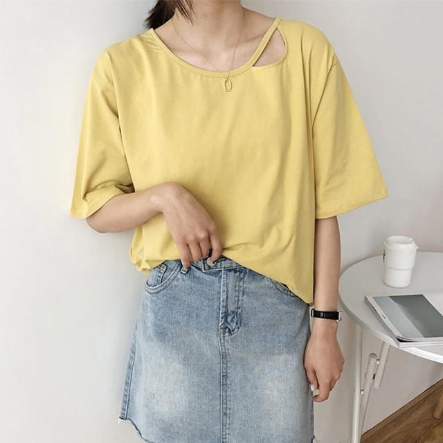 【良池】韓版肩縷空純色上衣(襯衫、T恤、防曬)