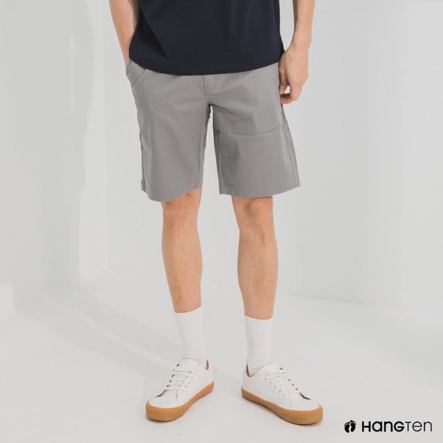 【Hang Ten】男裝-REGULAR FIT經典彈性短褲-灰