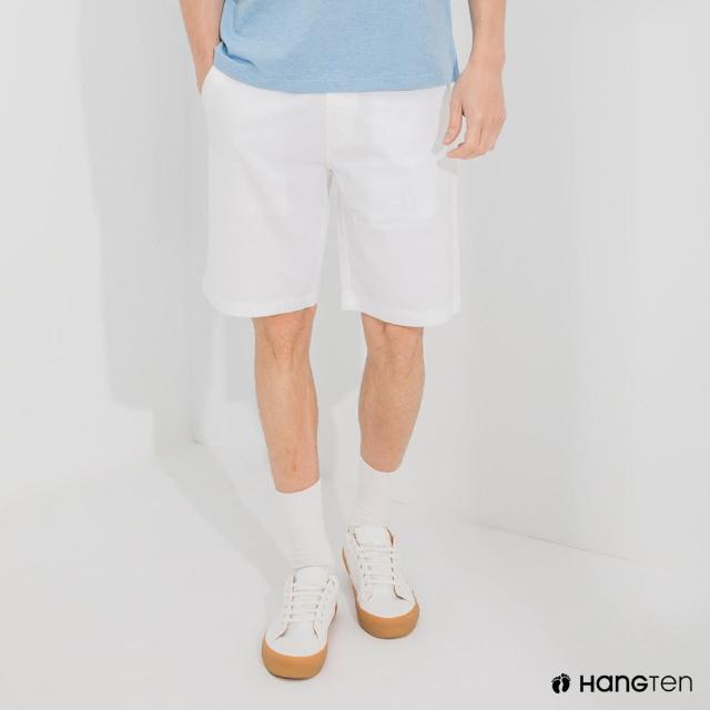 【Hang Ten】男裝-REGULAR FIT經典彈性短褲-白