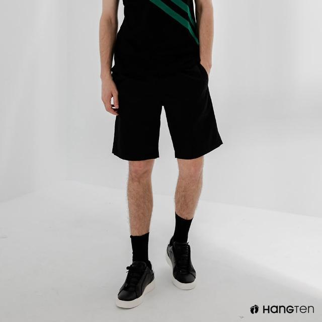 【Hang Ten】男裝-RELAXED FIT寬鬆鬆緊腰頭短褲-黑