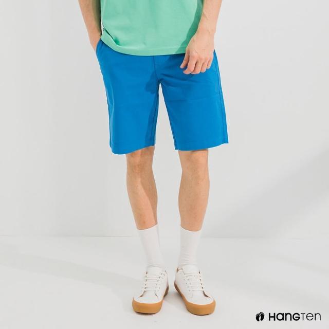 【Hang Ten】男裝-REGULAR FIT經典彈性短褲-寶藍