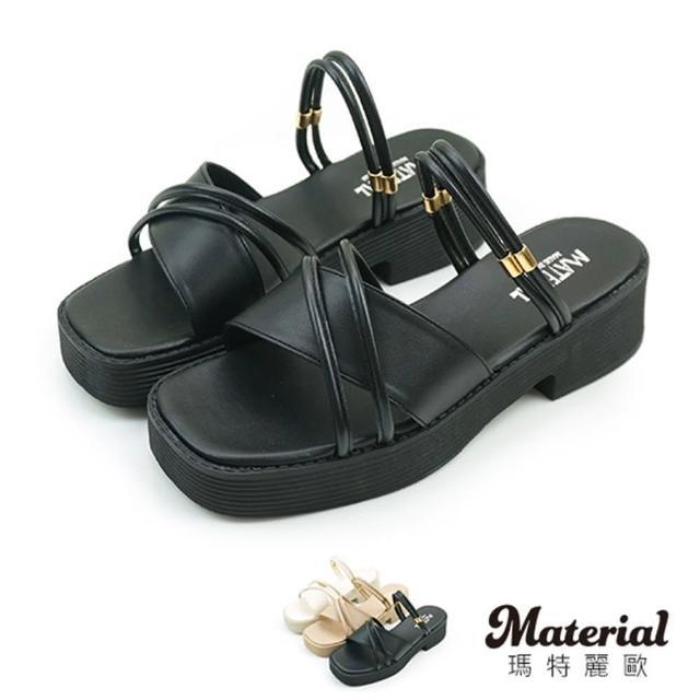 【MATERIAL】涼鞋 交叉斜帶厚底涼拖鞋 MA女鞋 T4878(涼鞋 交叉斜帶厚底涼拖鞋 MA女鞋 T4878)