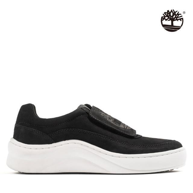 【Timberland】女款黑色樹型標誌魔鬼氈磨砂革休閒鞋(A211Y001)