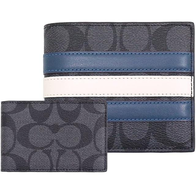 【COACH】型男黑灰X藍X白CLOGO PVC8卡對開短夾+票卡夾