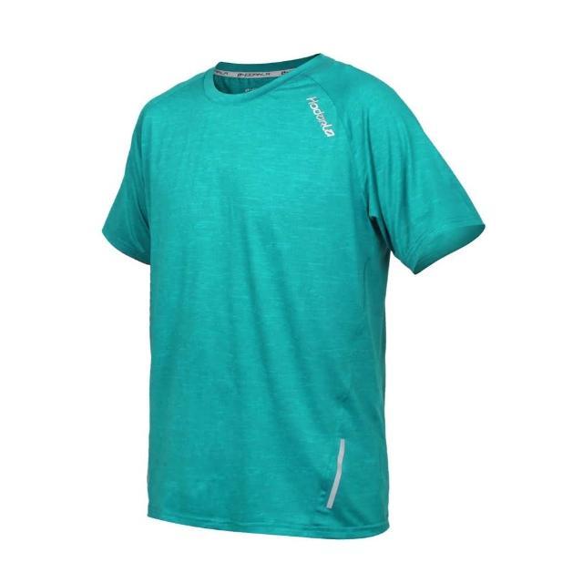 【HODARLA】男英速剪接短袖圓領衫-台灣製 吸濕排汗 T恤 慢跑 路跑 反光 上衣 麻花綠(3162401)