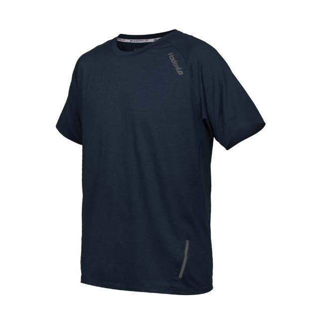 【HODARLA】男英速剪接短袖圓領衫-台灣製 吸濕排汗 T恤 慢跑 路跑 反光 上衣 麻花黑(3162404)