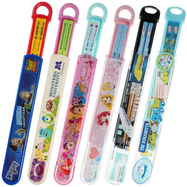 【TDL】日本製迪士尼公主新幹線車車玩具總動員怪獸大學兒童筷子筷盒組環保餐具附收納盒 249099