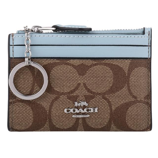 【COACH】雙色防刮LOGO皮革卡夾/零錢包(深卡其X水藍邊)