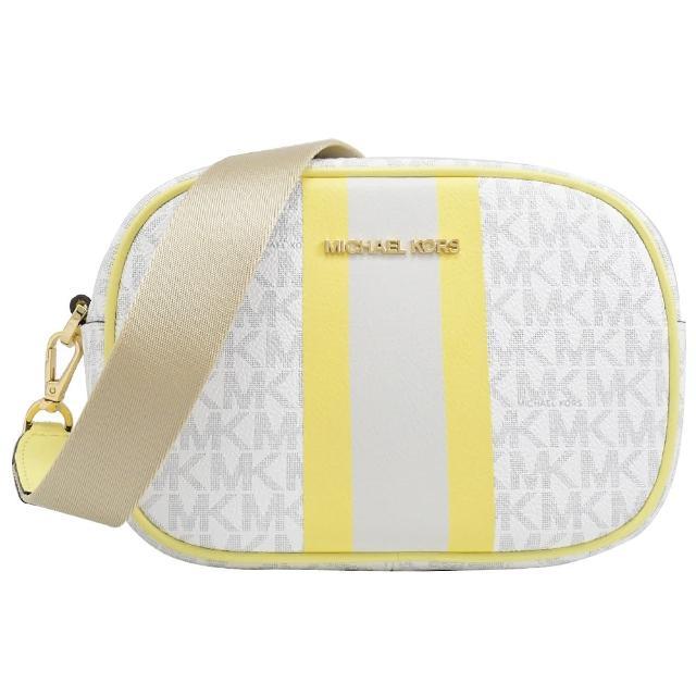 【Michael Kors】經典MK LOGO條紋寬背帶相機包斜背包(白黃)