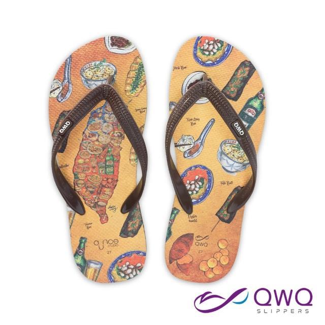 【QWQ】男款防滑夾腳拖鞋 玩食插畫人字拖鞋 平底防水拖鞋雨鞋 台灣小吃 咖啡棕(AIWS10207)