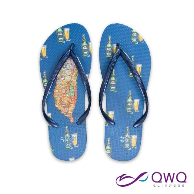 【QWQ】女款防水夾腳拖鞋 玩食插畫人字拖鞋 彈性防滑拖鞋雨鞋 乾杯台灣 藏青藍(AIWS00104)