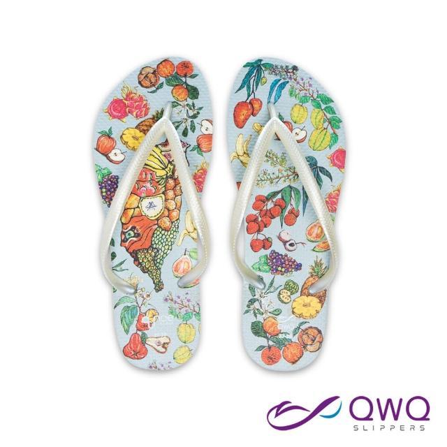 【QWQ】女款防水夾腳拖鞋 玩食插畫人字拖鞋 彈性防滑拖鞋雨鞋 台灣水果 牛奶白(AIWS00512)
