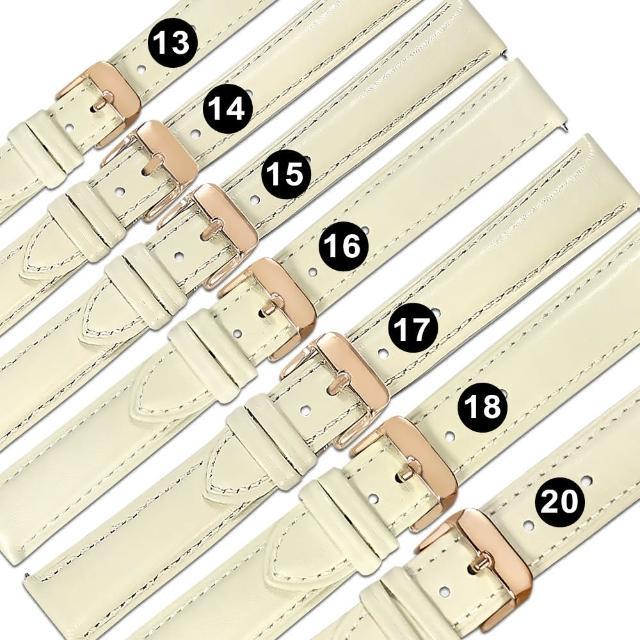 【Watchband】13.14.15.16.17.18.20mm / 各品牌通用 快拆型 真皮錶帶 鍍玫瑰金不鏽鋼扣頭(象牙白色)
