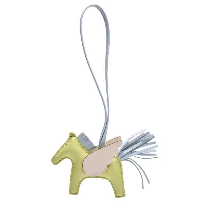 【Hermes 愛馬仕】RODEO GM 馬兒造型拼色小羊皮鑰匙圈/吊飾(迷你-嫩芽綠/迷霧藍H063010CAAE-GREEN)