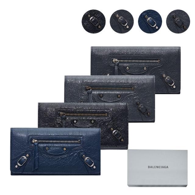 【Balenciaga 巴黎世家】經典機車包12卡拉鏈零錢翻蓋式長夾(多色可選)