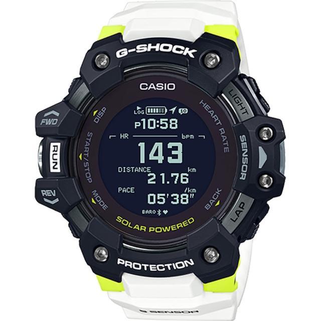 【CASIO 卡西歐】G-SHOCK G-SQUAD 運動潮流太陽能GPS藍牙連線橡膠腕錶/白x黑框(GBD-H1000-1A7DR)