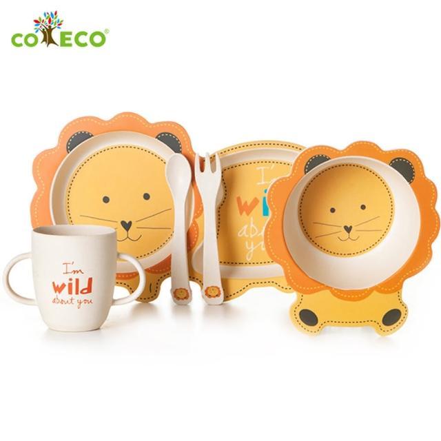【coeco】竹纖維動物造型兒童餐具五件組