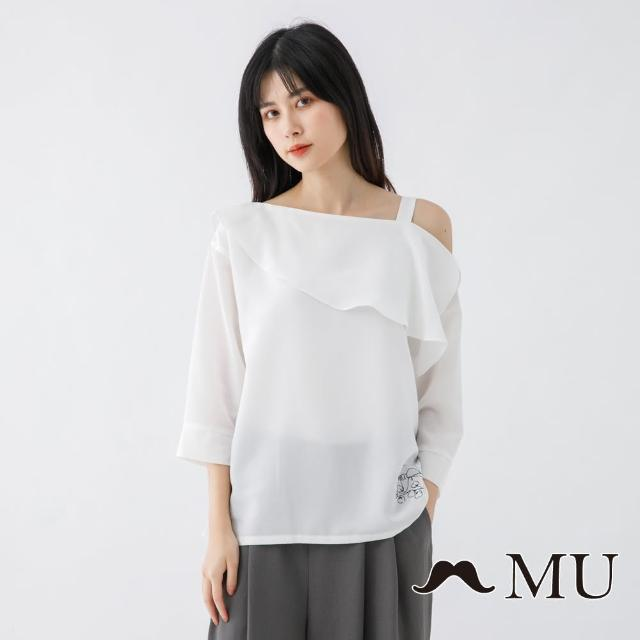 【maru.a】MU 氣質荷葉領露肩七分袖上衣(白色)