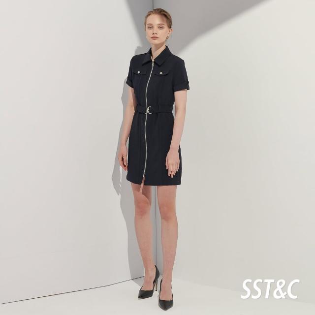 【SST&C】慕夜藍工業風翻領拉鍊洋裝8562104006