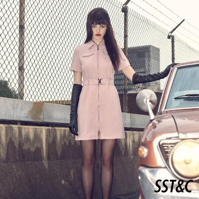 【SST&C】櫻花粉工業風翻領拉鍊洋裝8562104005