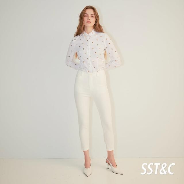 【SST&C】白色修身長褲8262104001