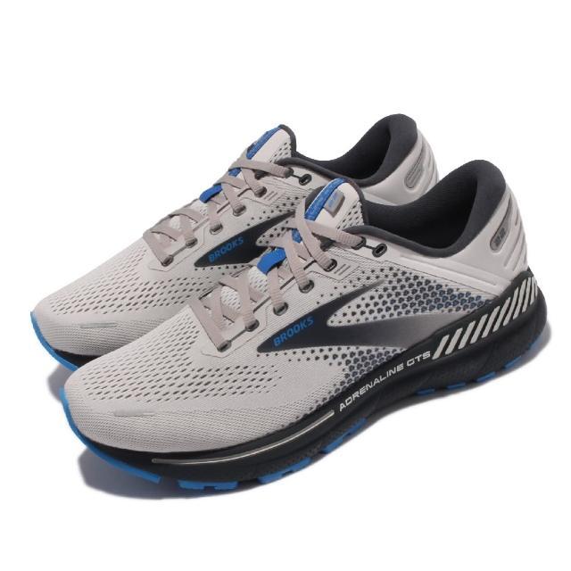 【BROOKS】慢跑鞋 Adrenaline GTS 22 寬楦男鞋 路跑 緩震 輕量 透氣網布 腎上腺素 灰 藍(1103662E023)