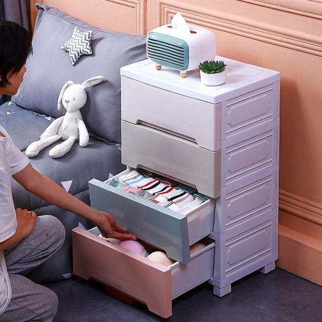 【居家生活Easy Buy】48CM馬卡龍儲物收納櫃-四層(床頭櫃 斗櫃 收納櫃)