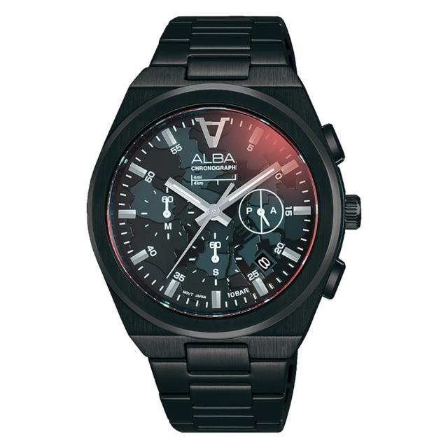 【ALBA】東京三眼對錶計時手錶男41mm(AT3H61X1/VD53-X380SD)