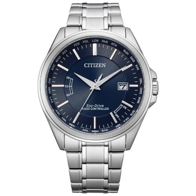 【CITIZEN 星辰】英倫風尚限定光動能電波時尚男錶-銀x藍/43mm(CB0250-84L)