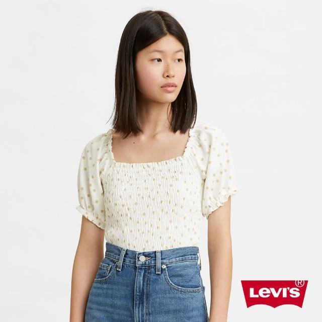 【LEVIS】女款 一字領碎花上衣 / 彈性中短版-人氣新品