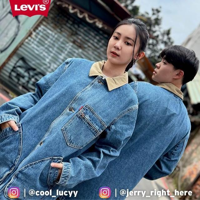 【LEVIS】男款 長版牛仔外套 / 復古燈心絨領 / 幾何變形口袋-人氣新品