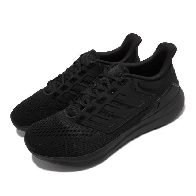 【adidas 愛迪達】慢跑鞋 EQ21 Run 低筒 運動 男鞋 愛迪達 輕量 透氣網布 避震 路跑 全黑(H00521)