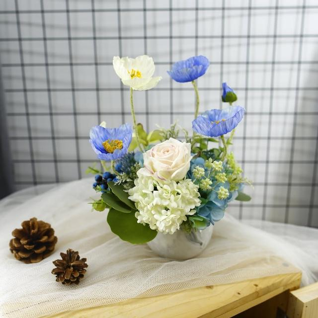 【HUGO DECO 榆果傢飾】藍白色虞美人香氛花藝(擬真花/香氛/花禮/節慶送花)