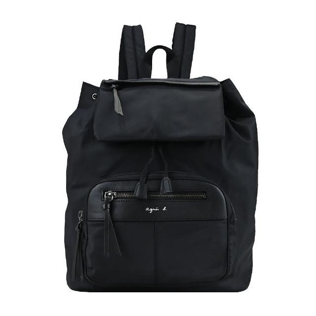 【agnes b.】前口袋LOGO束口後背包(黑)