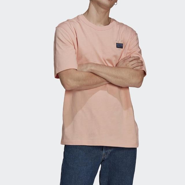 【adidas 愛迪達】上衣 男款 短袖上衣 運動 慢跑 三葉草 粉 GN3282 國際尺寸