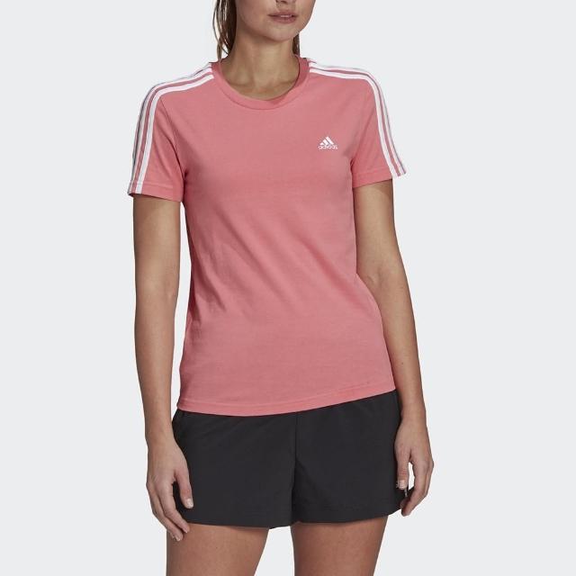 【adidas 愛迪達】上衣 女款 運動 健身 慢跑 短袖上衣 LOUNGEWEAR ESSENTIALS 粉 GL0787