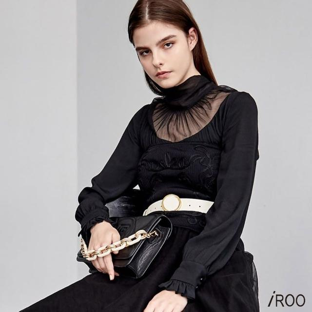 【iROO】微透明 立領 後綁結上衣