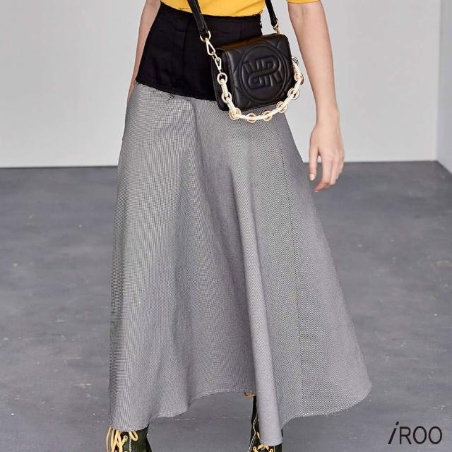 【iROO】復古風 牛仔剪接 格紋長裙