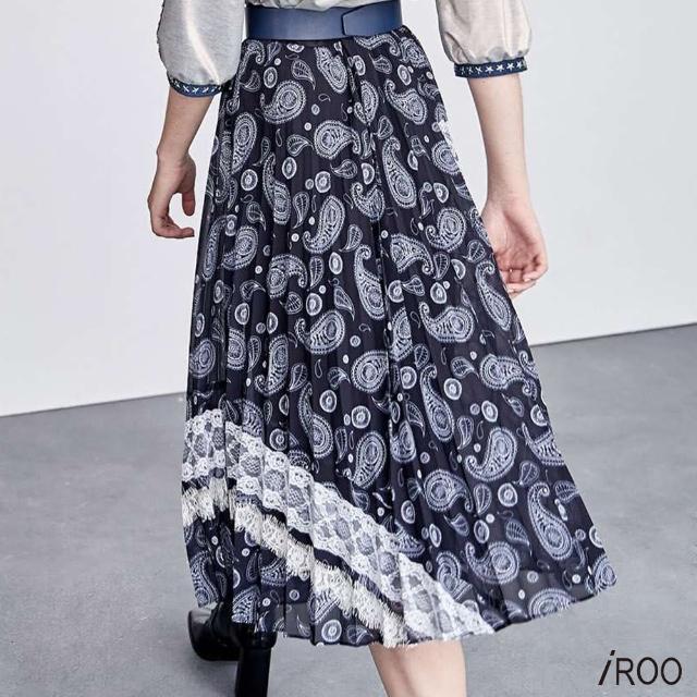【iROO】蕾絲裝飾花長裙