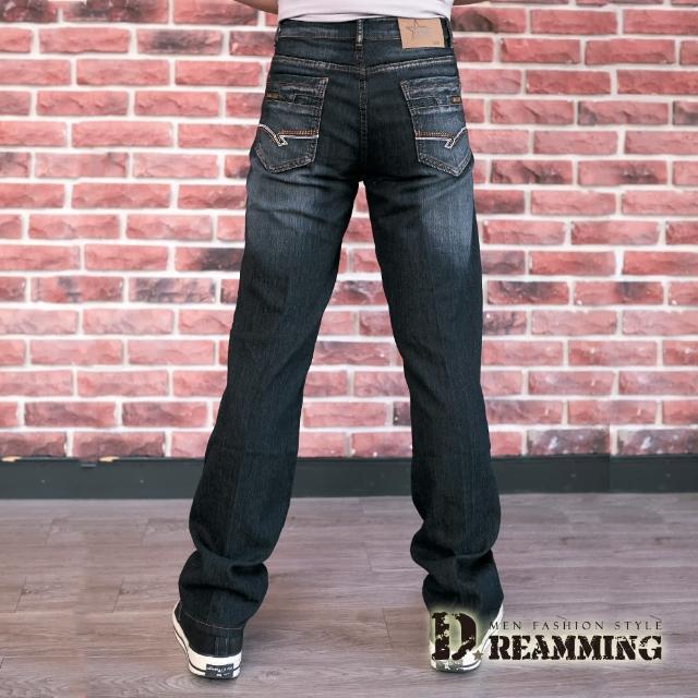 【Dreamming】拼接口袋刷色伸縮牛仔長褲 彈力 輕薄(黑色)