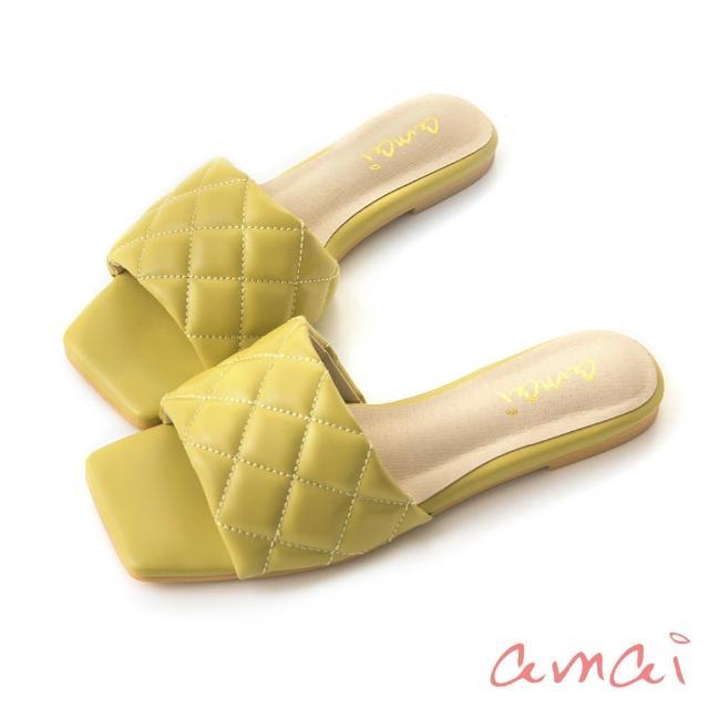 【amai】鬆餅格紋澎澎方頭涼拖鞋(芥黃)