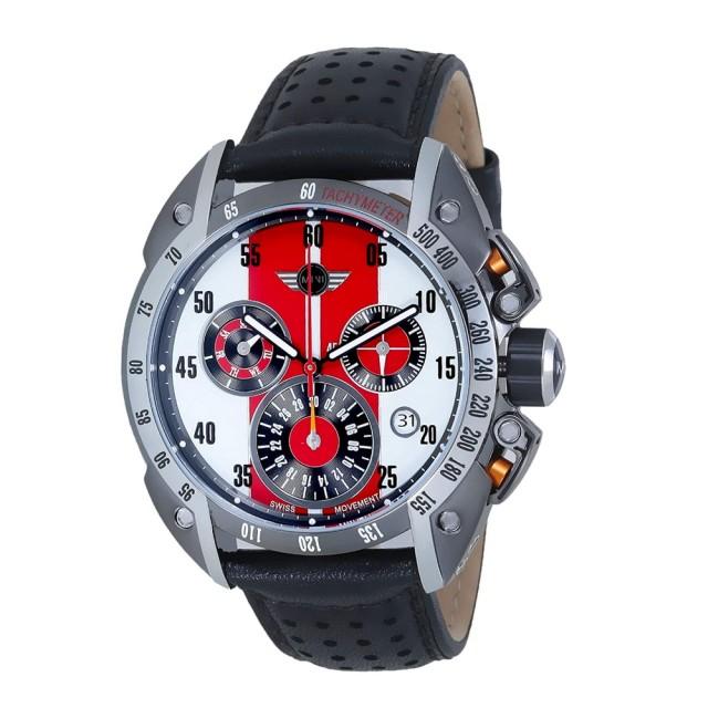 【MINI SWISS WATCHES】石英錶 47mm 紅白三眼錶面 黑色透孔皮錶帶(黑色)