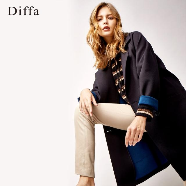 Diffa【Diffa】雙色羊毛混紡落肩大衣